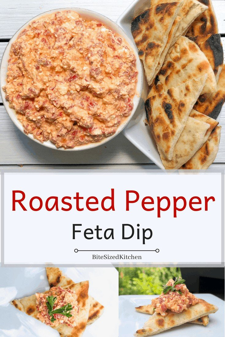An easy COLD make ahead Greek dip with just 3 ingredients! Feta, garlic and roasted red peppers is the best for parties! Served cold with pita bread! A healthy 3 ingredient dip served cold!