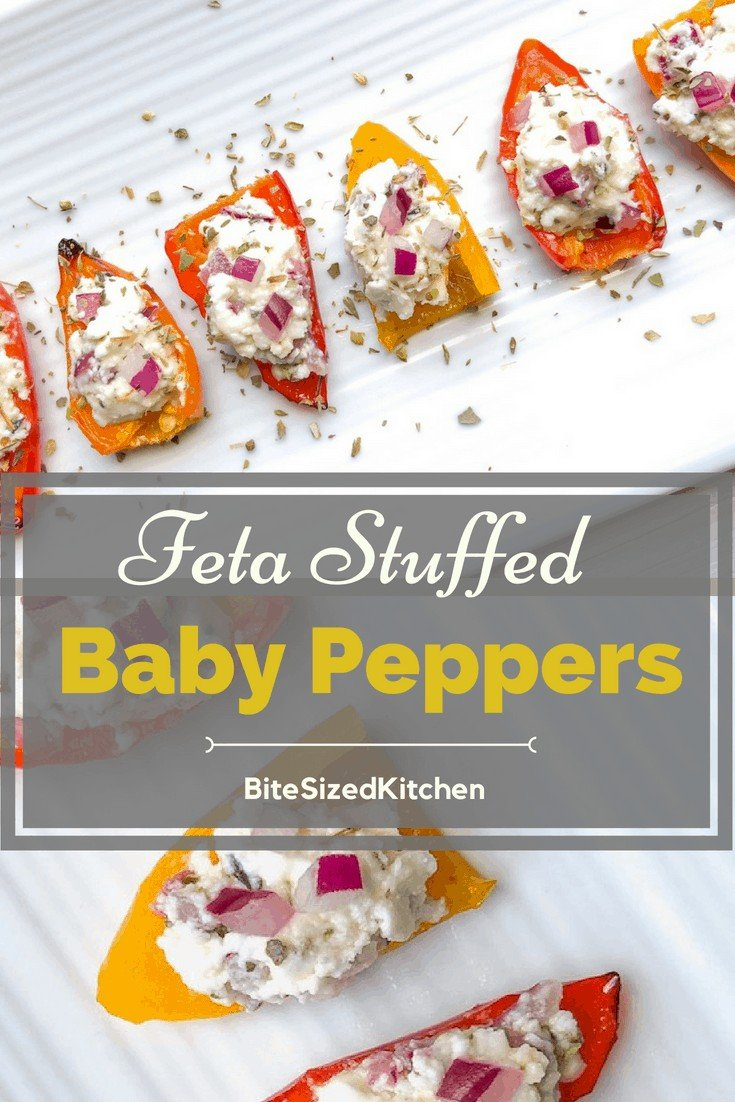 These easy baby stuffed peppers are a fun make ahead finger food perfect for your next party! They are super healthy and can be served COLD! Yay to last minute appetizers for a crowd!