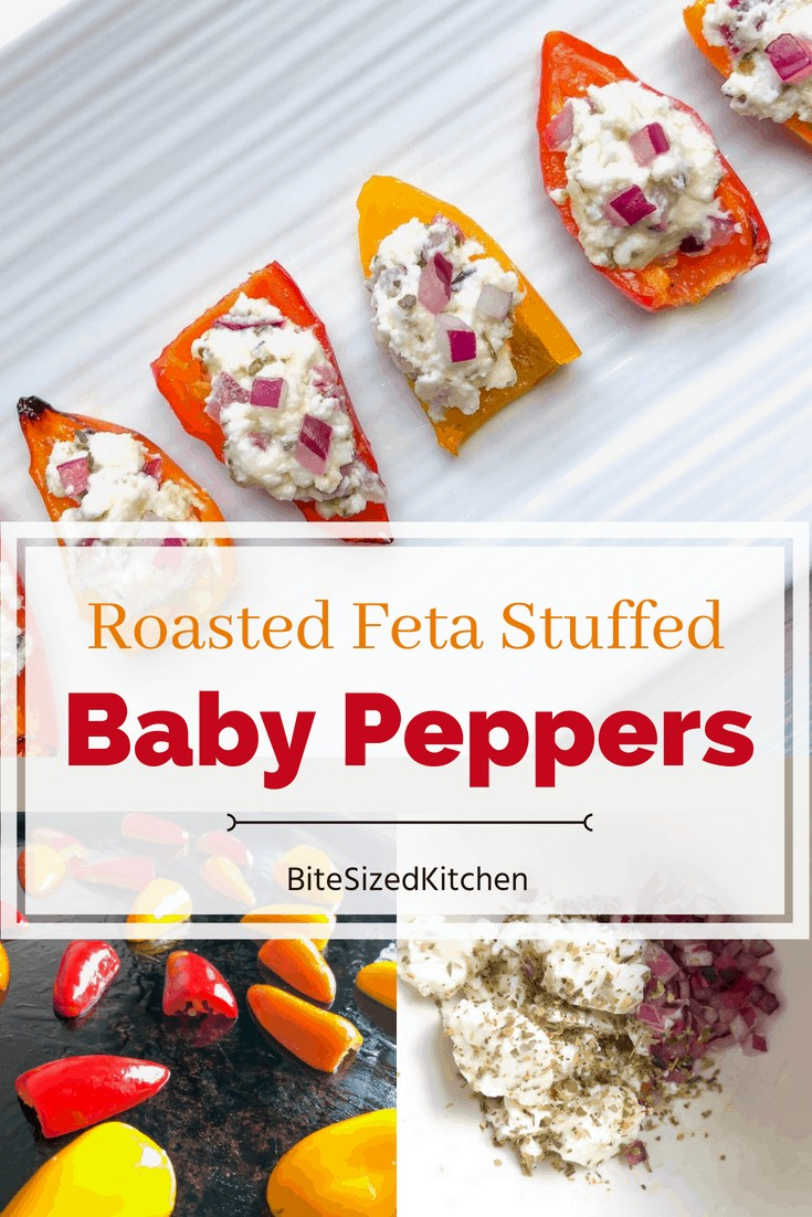 These roasted baby peppers stuffed with feta are a delicious and easy veggie appetizer for any party! I like to make them ahead and serve them cold for a fun finger food and simple crowd pleaser! Bite size and quick to make!