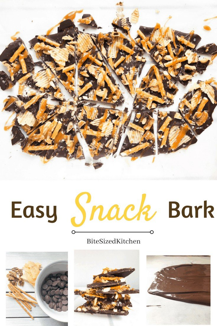 A fun bite sized healthier version of your traditional bark. A sweet treat that is both salty and bitter sweet! I make this all the time and stick it in the fridge or freezer so when I a craving something sweet, I grab this guilt-free treat that is low on sugar!