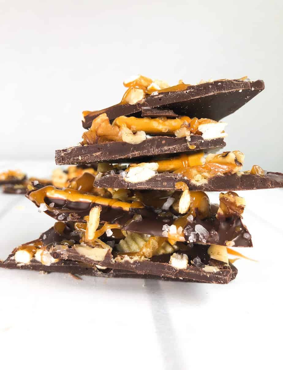 dark chocolate bark stacked on top of eachother