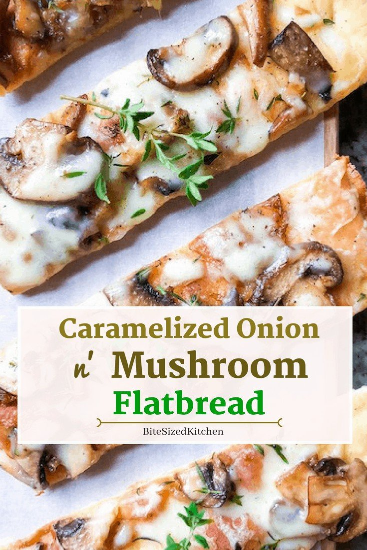 This is a healthy easy vegetarian flatbread recipe! A perfect appetizer recipe with mushrooms and caramelized onions! Great for a party or crowd!