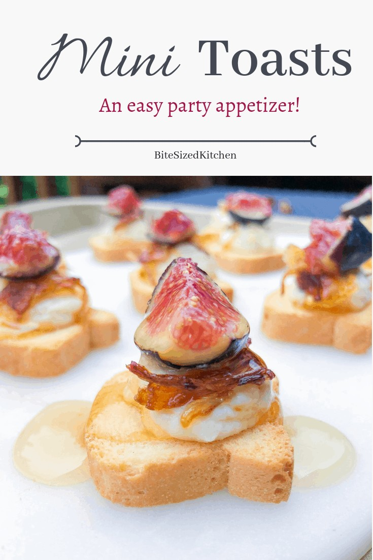 Need an easy make ahead appetizer for your next party? These Mini Canapé Toasts With Sweet Cheese are one of the tastiest crostini toppings you'll whip up! Made with a mixture of brie cheese, goat cheese, caramelized onions and honey, these crostini are mini flavor bombs!