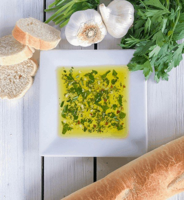 Italian bread dipping oils with bread for an appetizer