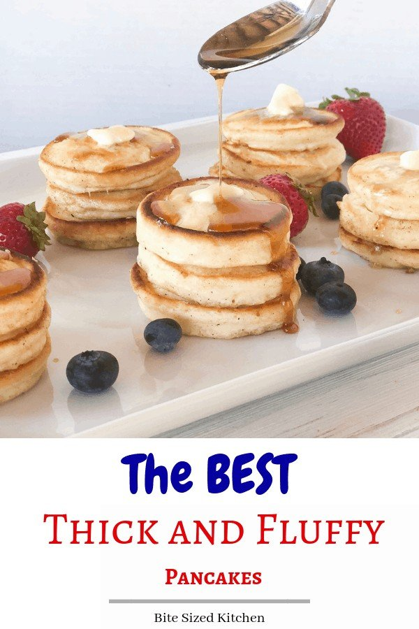 The best FLUFFY light and airy pancakes! These are fun mini sized with super crispy edges! Throw them in the freezer and reheat if you're on the go! Kids will love this grab and go breakfast option!