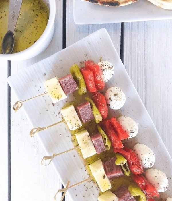 cold antipasto skewers on a plate