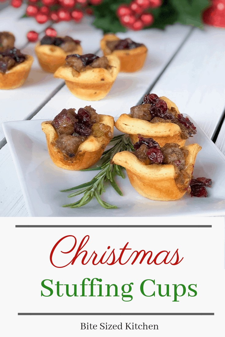 A Pillsbury biscuit dough appetizer perfect for the holidays or Christmas parties! Your family will love how festive and cute these are! Get your Christmas stuffing in one fun bite sized muffin tin!