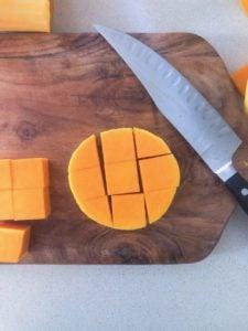 cutting butternut squash