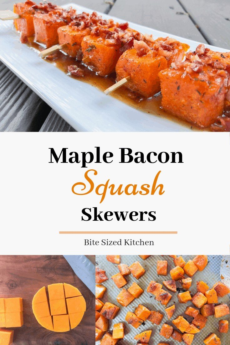 The best fall appetizer for any holiday party! Finger foods are all you need to keep guests standing with a drinking in hand! An easy thanksgiving appetizer that is healthy and can be made ahead! #squash #bacon #maplebacon #skewers #skeweredfood #roastedsquash