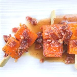 butternut squash skewers with bacon appetizer