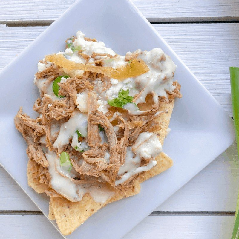 serving of pulled pork nachos on a plate