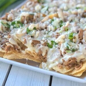 crock pot pulled pork nachos on a plate