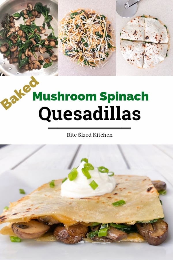 An easy BAKED vegetarian quesadilla recipe made with mushrooms,spinach and cheese! A simple appetizer that will serve a crowd at your next party! Sheet pan meatless quesadillas are a healthy option. #partyfood #appetizers #quesadilla #baked #easy