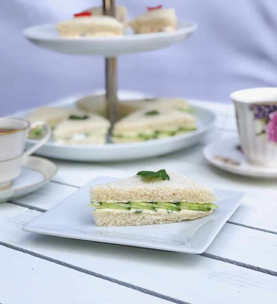 english tea finger sandwiches on a plate