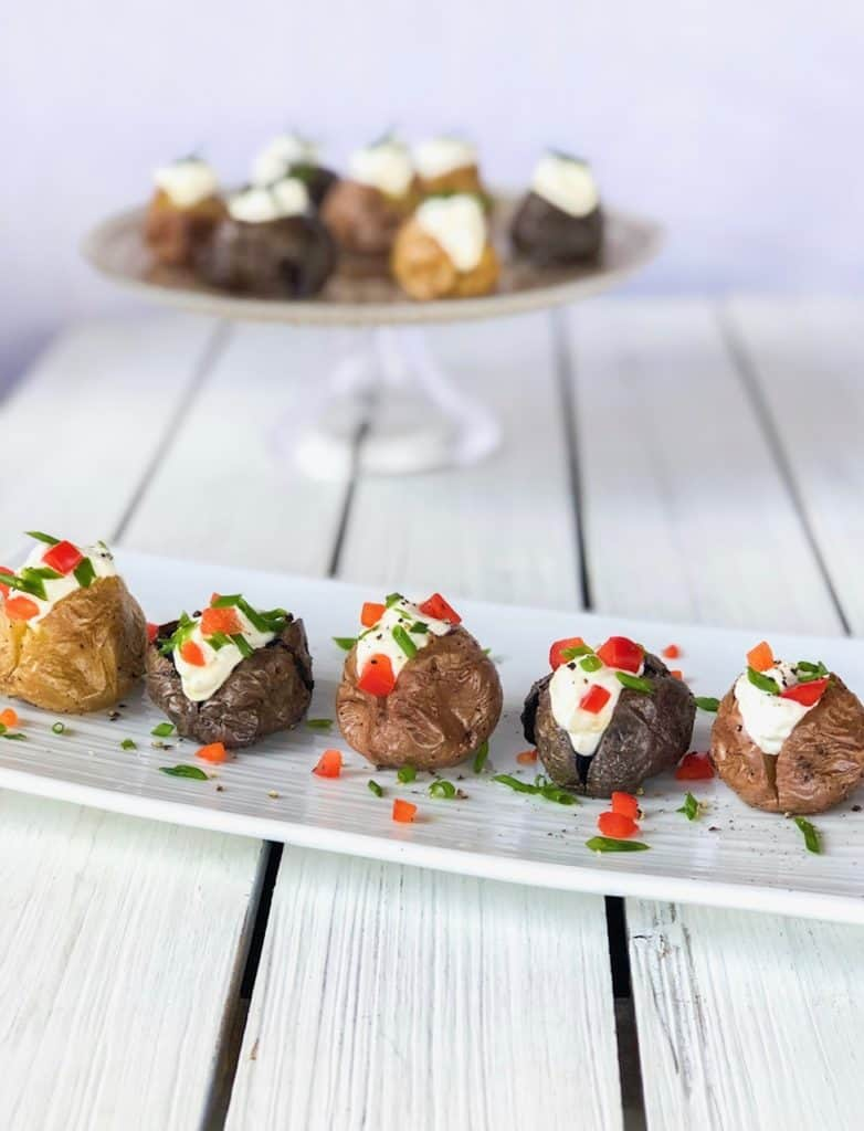 Mini baked potatoes appetizer bites. Perfect party food for any holiday.