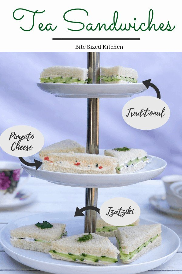 These easy English tea sandwiches are a simple but elegant way to serve cucumber sandwiches. They are perfect for a baby or bridal shower party! A fun display for any party! 3 different fillings! Cream cheese and pimento. #teasandwiches #cucumber #teaparty #babyshower #bridalshower #fingersandwiches