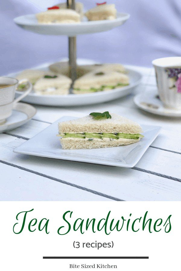 How to make and cut fancy tea finger sandwiches for a crowd. Three vegetarian recipes made with cucumbers and pimento peppers. Ideal for a wedding or bridal shower. Cheap but elegant! #elegant #fancyfood #fingerfood #pimento #teatime #weddingfood