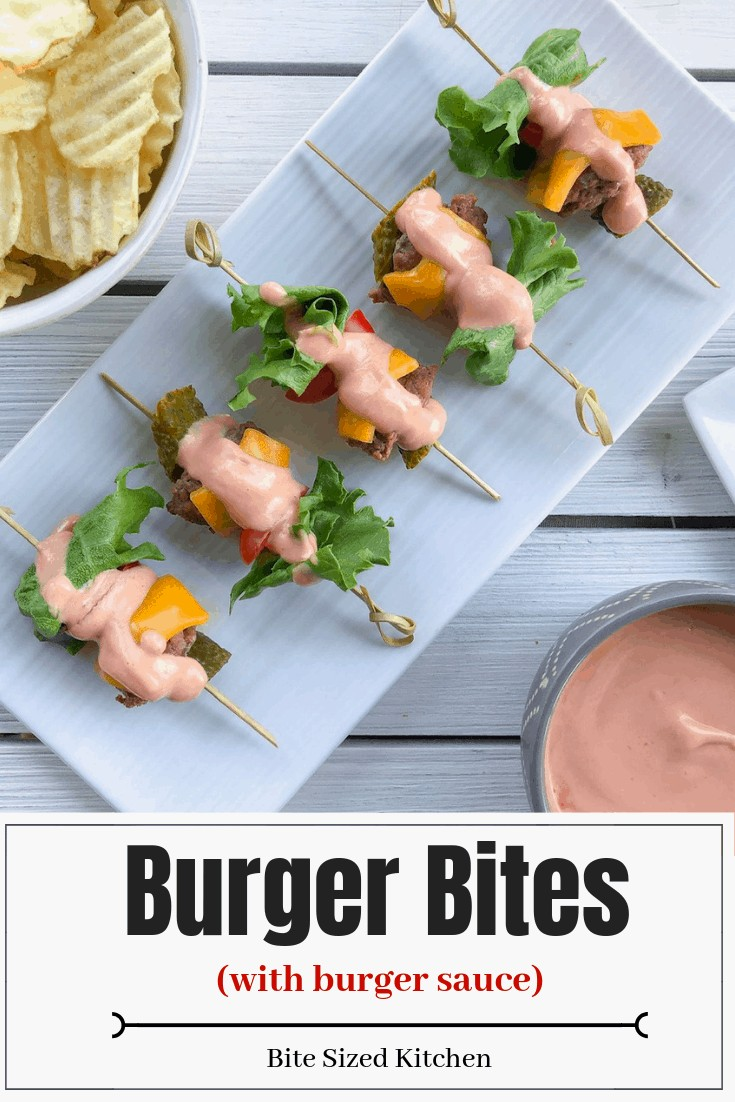 Mini bunless hamburger bites that are easy to make! Great for a wedding or backyard BBQ! These will be a kids favorite! #kidsfood #weddingfood #skewers #bbqfood