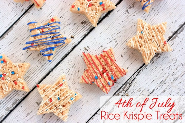 Rice crispies cut into stars and decorated red white and blue.