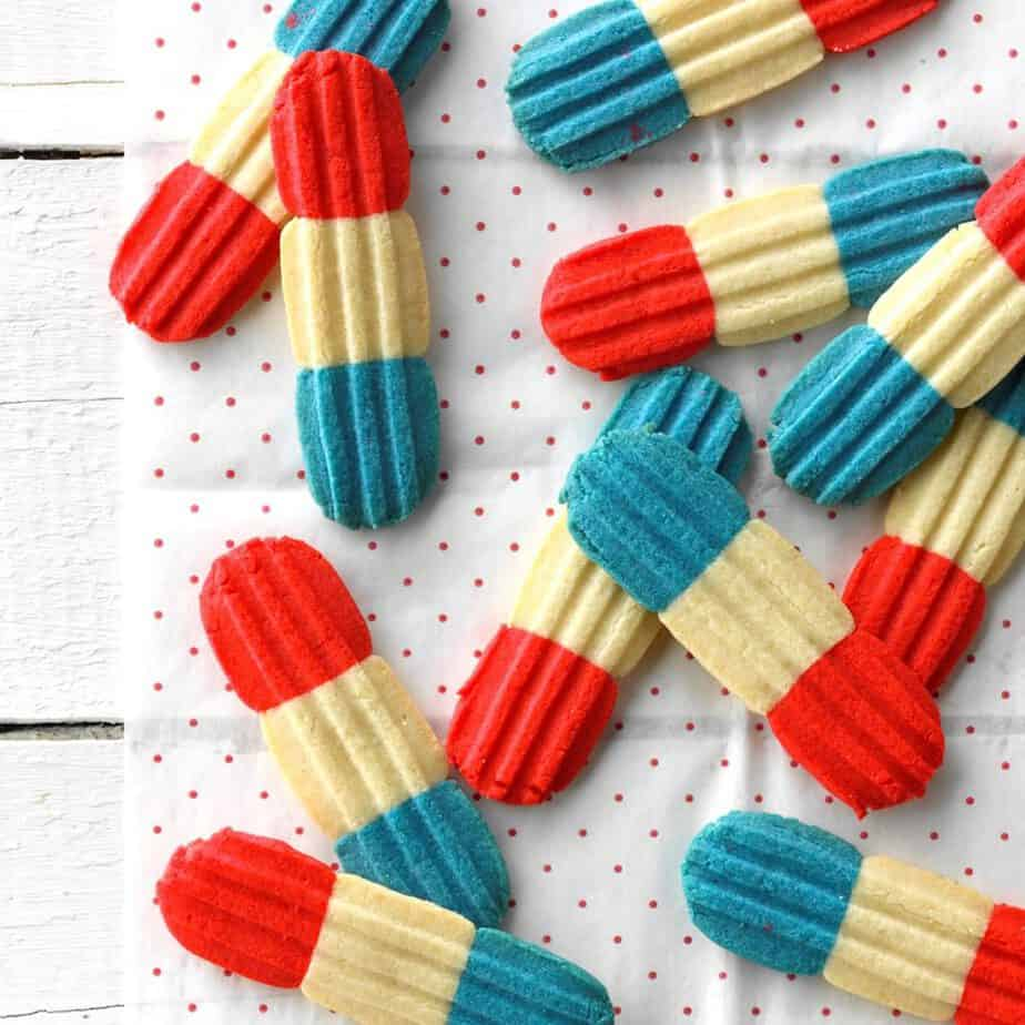 Red white and blue cookies.