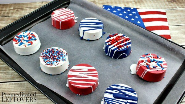 Red white and blue coated Oreos.