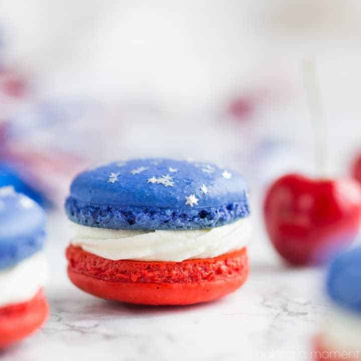 Red white and blue macarons.