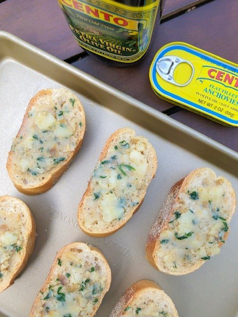 Roasted Garlic Bread Spread With Anchovies Bite Sized