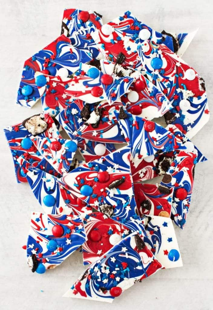 Red white and blue bark chocolate.