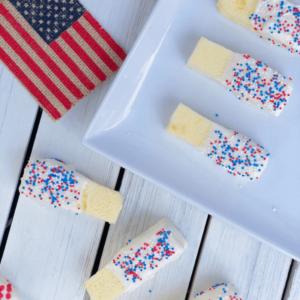 4th of July Chocolate Dipped Pound Cake Sticks