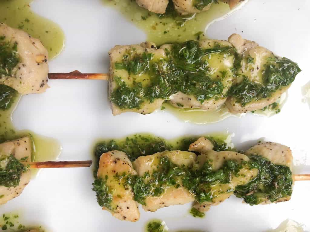 Chimichurri chicken skewers! Marinated and baked in the oven!