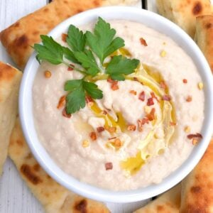 Cannellini bean dip in a bowl.