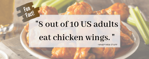 """Chicken wing statistic saying """"8 out of 10 adults eat chicken wings""""."""