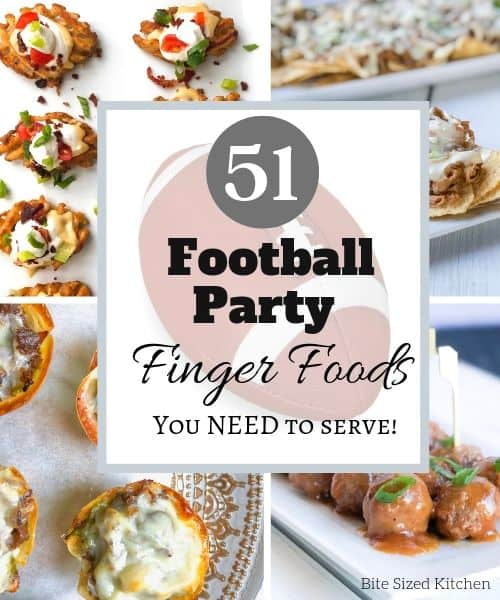 """football party appetizer collection with text overlay """"51 football finger foods"""""""