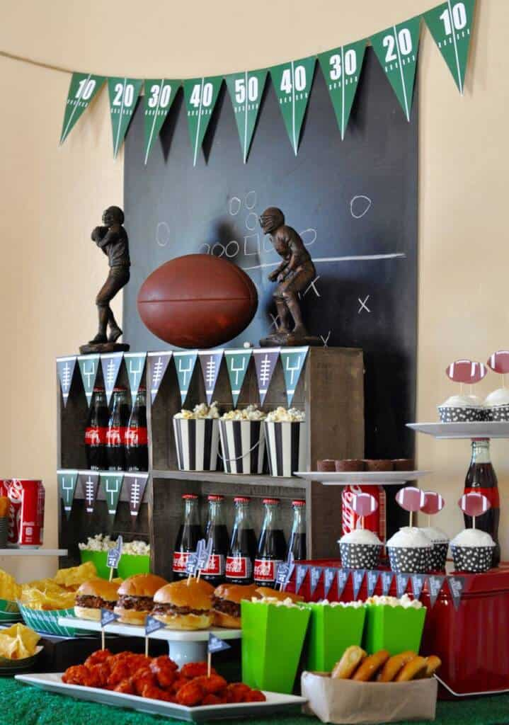 football party food table with decor.