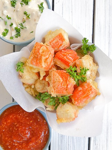 Fried imitation crab sticks recipe using tempura batter.