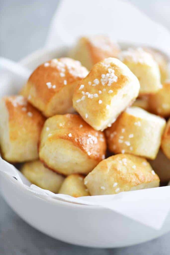 mini pretzels with salt on top in a bowl.