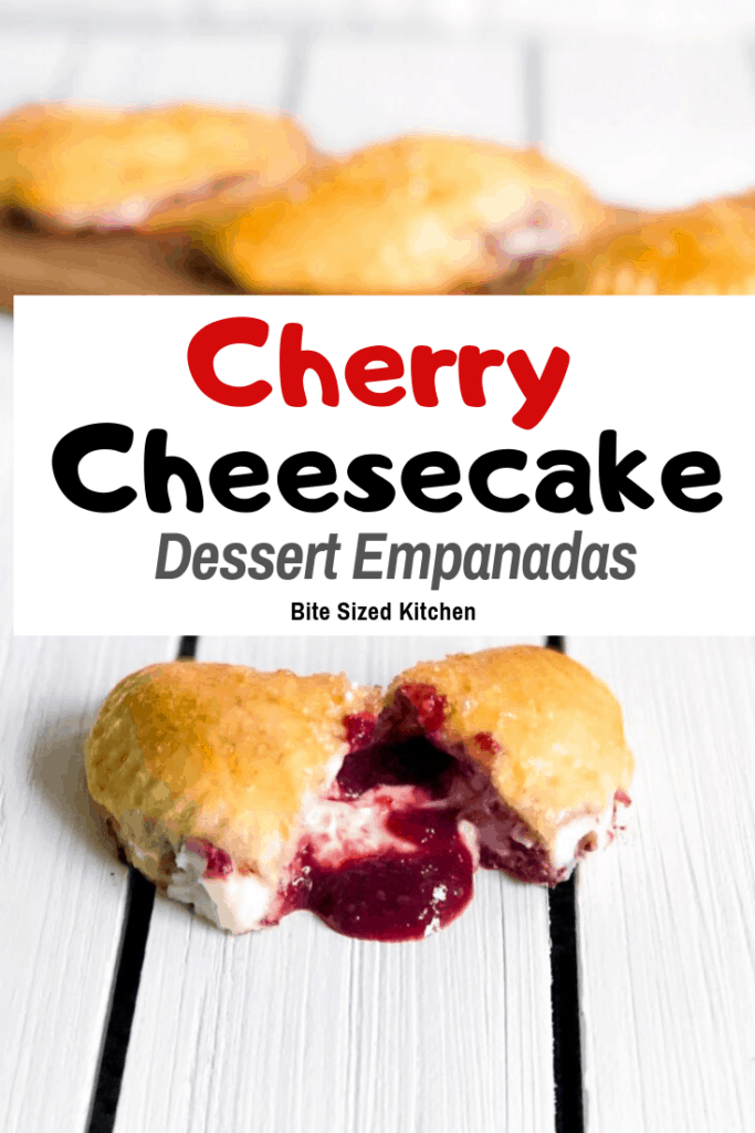 A delicious BAKED mini dessert empanada stuffed with a cherry cream cheese filling. An easy recipe using Pillsbury biscuit dough baked in the oven served warm!