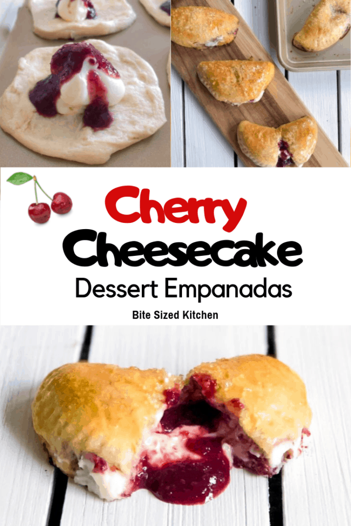 A BAKED dessert empanada made with a cherry cream cheese filling. Topped with sugar and baked, these mini empanadas are a delicious sweet treat any time of year!