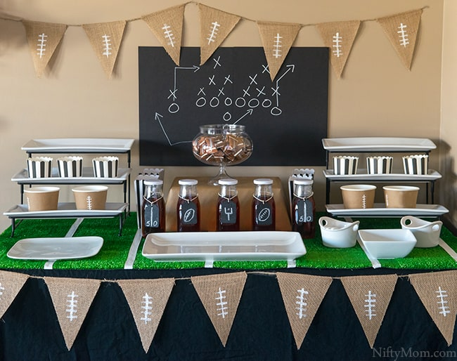 Football party table layout.
