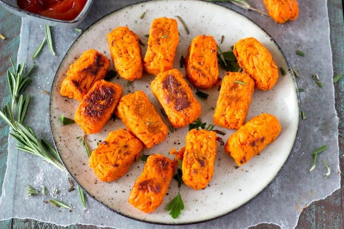 Healthy game day sweet potato tots appetizer
