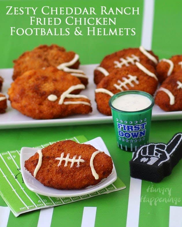 Fried chicken shaped into a football.