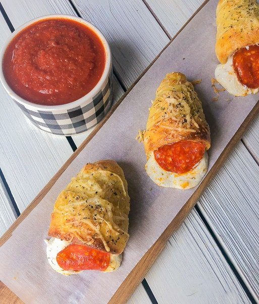 ricotta and cheese stuffed pizza cones for a party