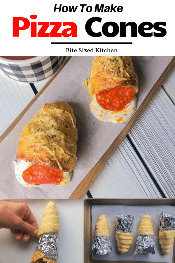 How to make pizza cones at home. A great football appetizer for your next game watching party!