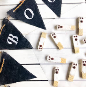 Chocolate Dipped Halloween Ghost Wafer Cookies