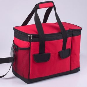 Red cooler bag with handles.