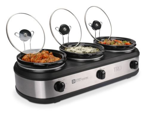 Triple slow cooker electric food warmer.