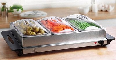 Electric food warmer with food.