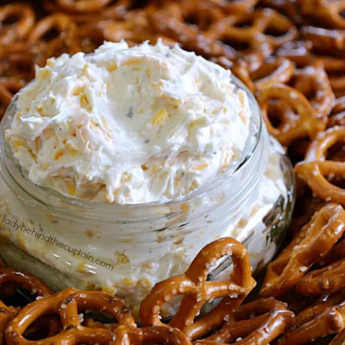 Cold beer dip with pretzels around it.