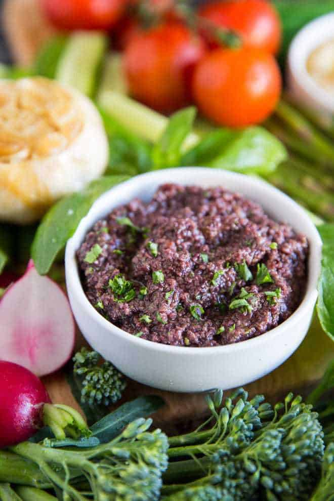 Olive tapenade with fresh veggies.