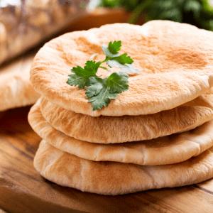 Pita bread stacked.
